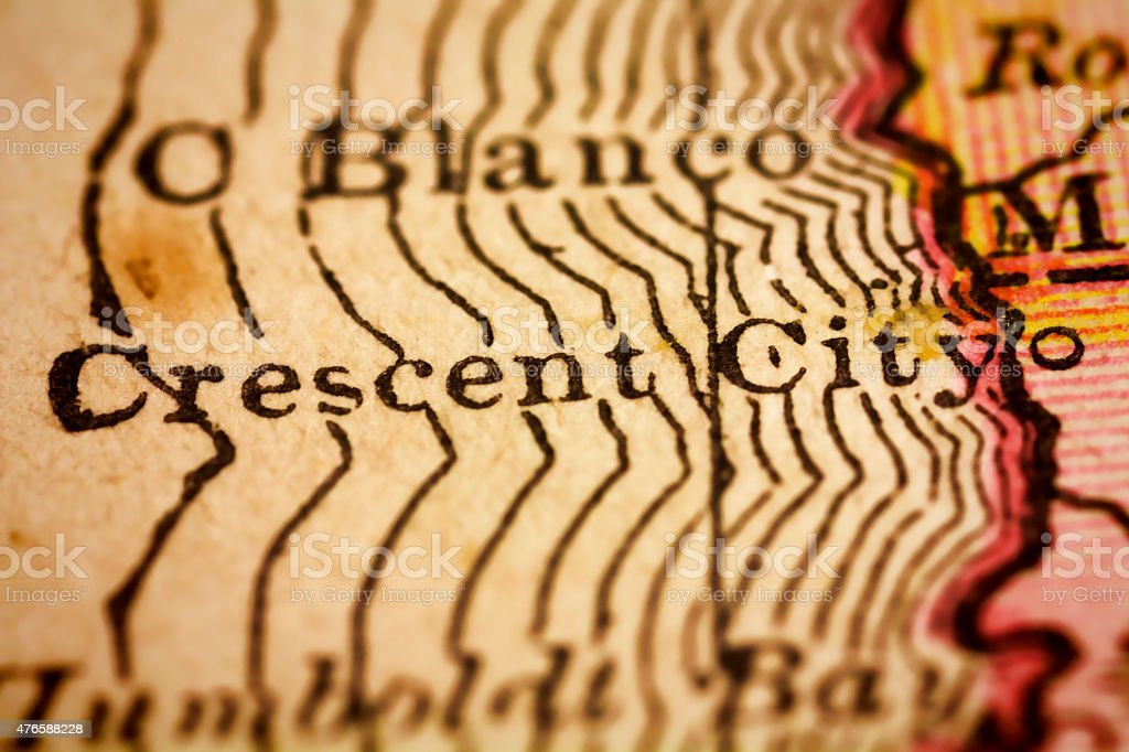 Crescent City, California on an Antique map stock photo