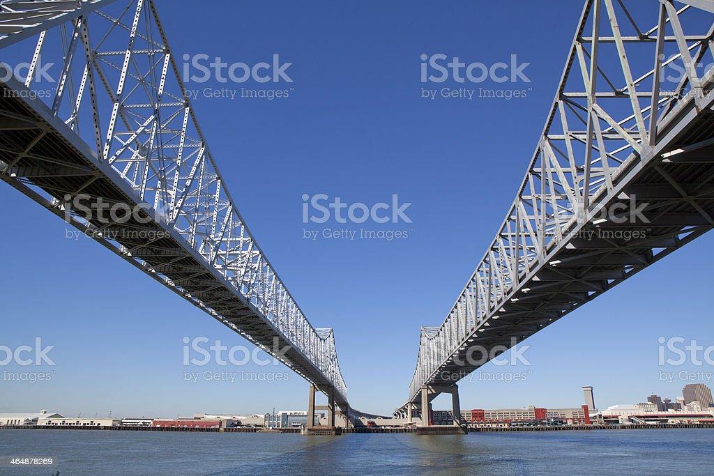 Crescent City Connection bridge in New Orleans, Louisiana stock photo