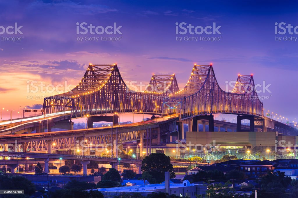 Crescent City Connection Bridge. stock photo