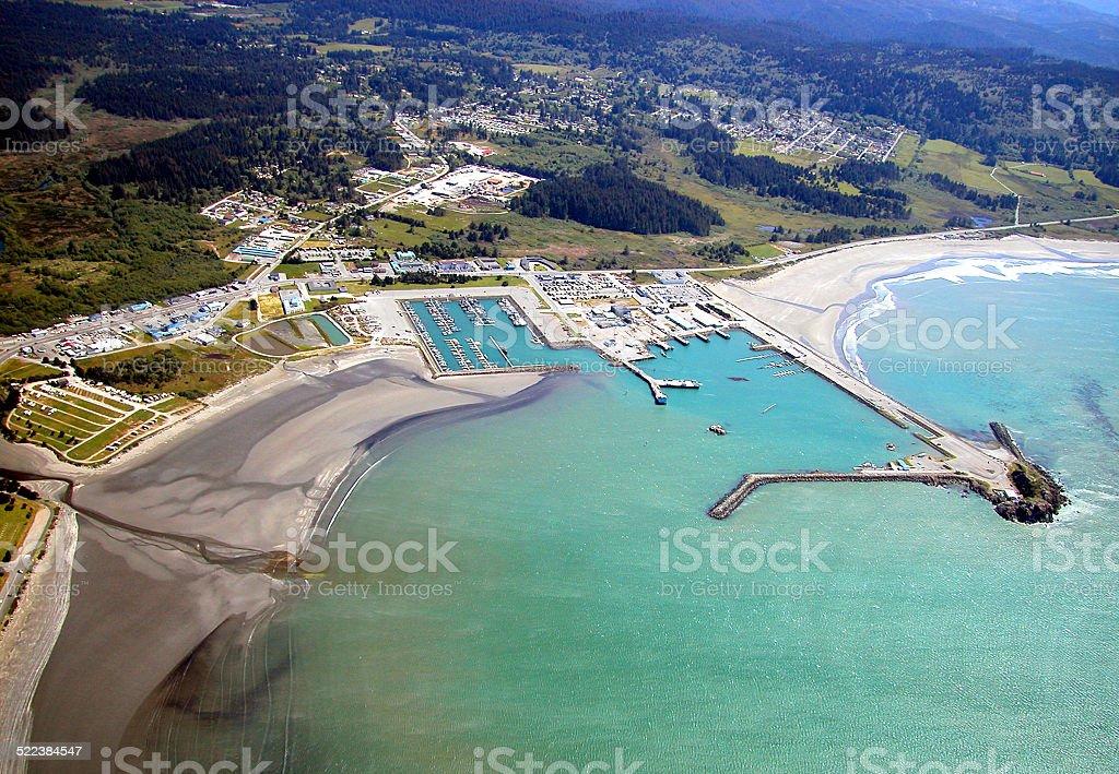 Crescent City Harbor Aerial stock photo
