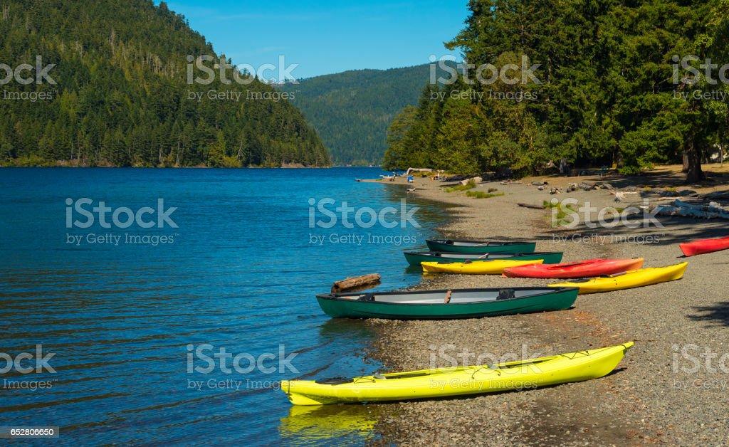 Crescent Lake beach stock photo