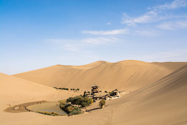 Crescent Lake in the desert Crescent Lake in the desert,Dunhuang, Mingsha Shan, China silk road stock pictures, royalty-free photos & images