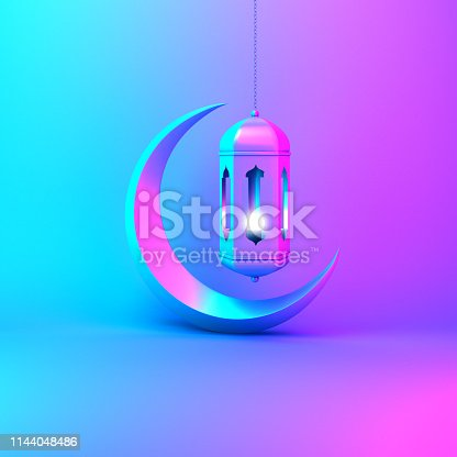 istock Crescent moon and arabic hanging lamp on pink blue gradient background studio lighting. 1144048486