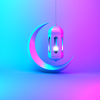 istock Crescent moon and arabic hanging lamp on pink blue gradient background studio lighting. 1144048486