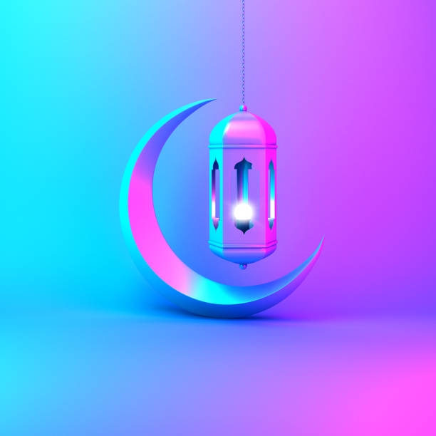 crescent moon and arabic hanging lamp on pink blue gradient background studio lighting. - eid stock pictures, royalty-free photos & images