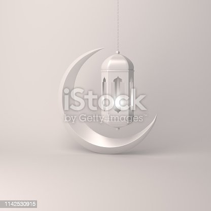 1140668282istockphoto Crescent moon and arabic hanging lamp on white background studio lighting 1142530915