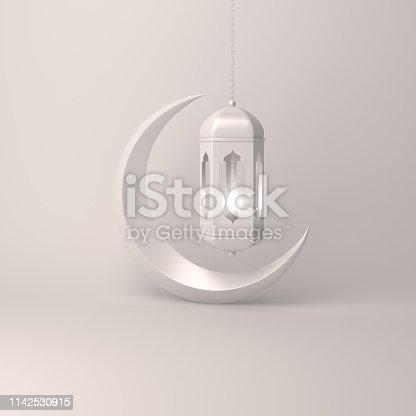 1142326460istockphoto Crescent moon and arabic hanging lamp on white background studio lighting 1142530915