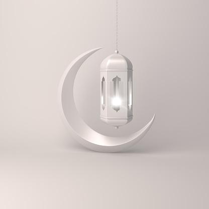 1142326460 istock photo Crescent moon and arabic hanging lamp on white background studio lighting 1142530915