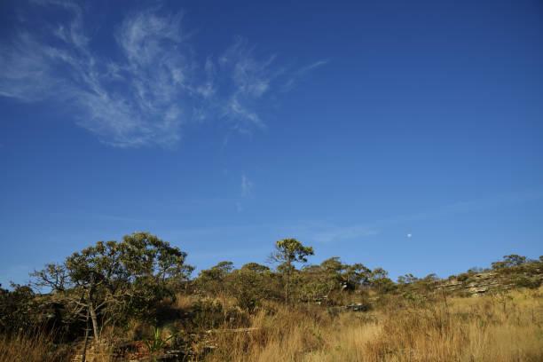 Lua crescente e nuvens no céu azul em Brasil - foto de acervo