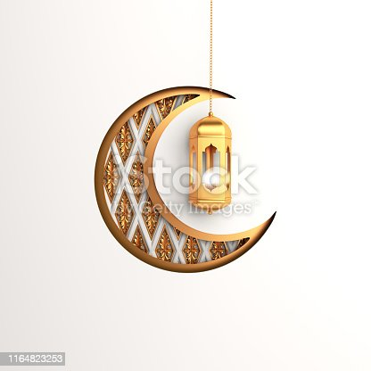 1140668282istockphoto Crescent moon and  gold arabic hanging lamp on white background. 1164823253