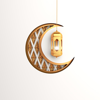 istock Crescent moon and  gold arabic hanging lamp on white background. 1164823253