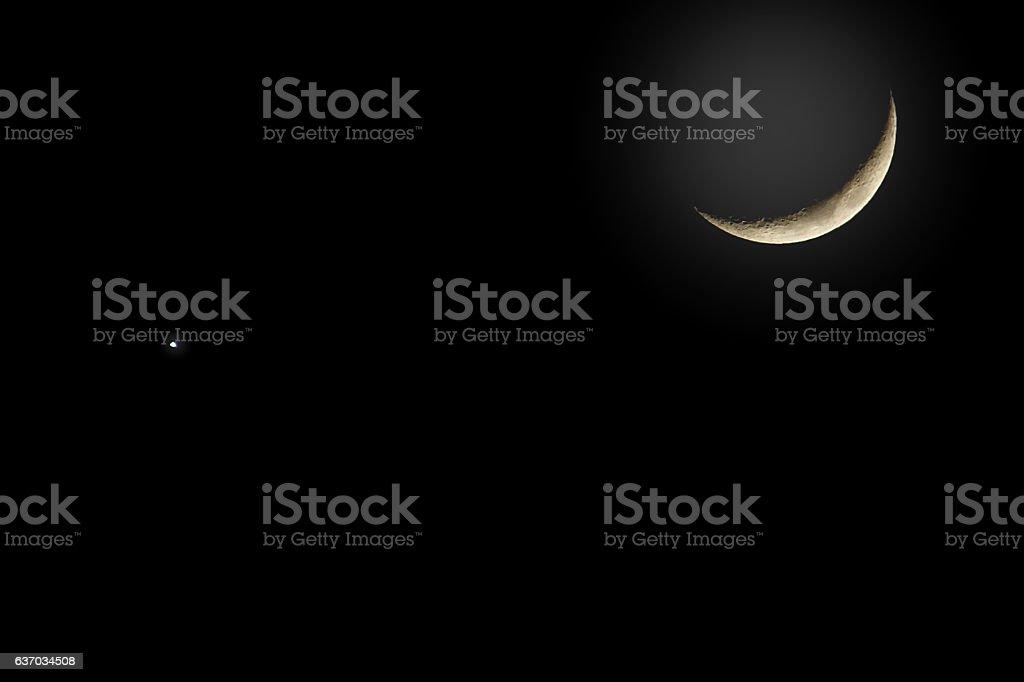 Crescent moon and venus background stock photo istock crescent moon and venus background royalty free stock photo voltagebd Choice Image