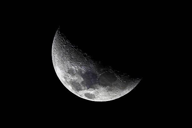 Crescent moon - high quality taken through telescope stock photo