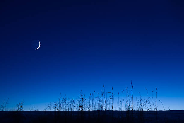 Crescent moon in the sky stock photo