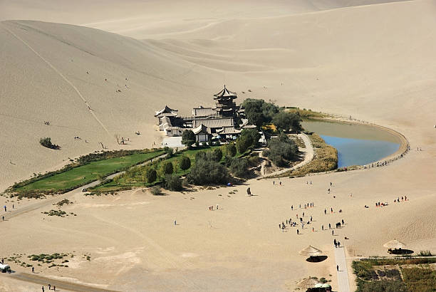 Crescent moon lake in desert,dunhuang of china stock photo