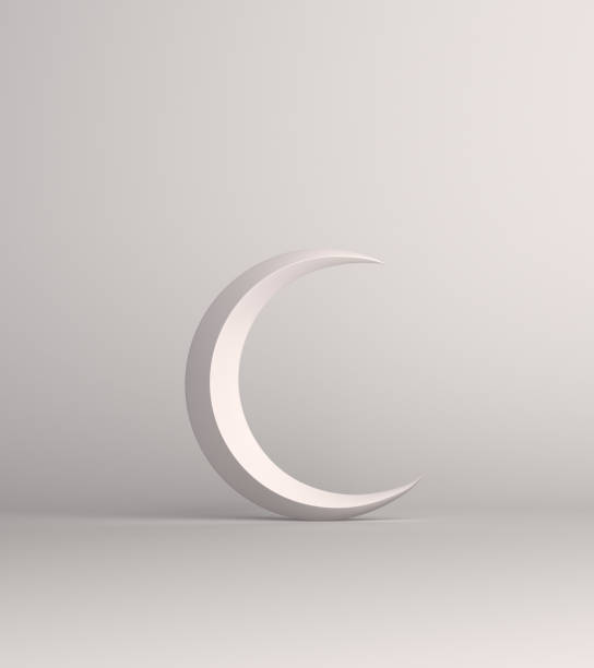 Crescent moon on white background studio lighting. stock photo