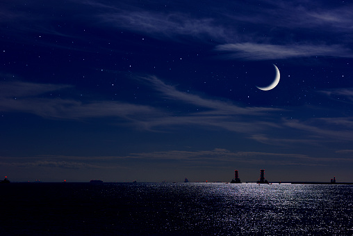 Crescent moon rising over the Tokyo bay area with copy space.