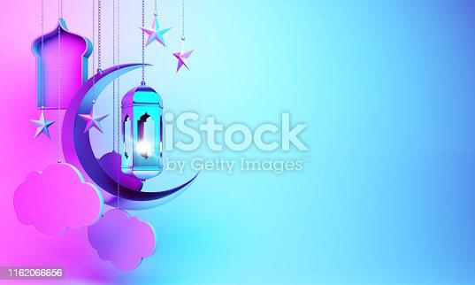 istock Crescent moon, star, hanging arabic lamp, window, cloud on studio lighting blue pink gradient background. 1162066656