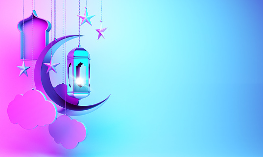 istock Crescent moon, star, hanging arabic lamp, window, cloud on studio lighting blue pink gradient background. 1162066656