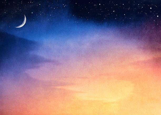 Crescent Moon Sunset stock photo