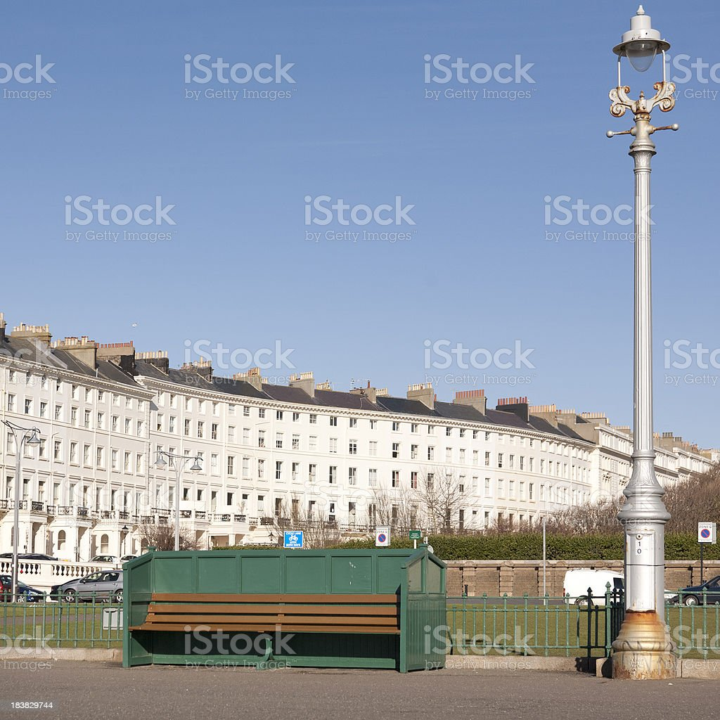 Crescent of houses in Brighton and Hove stock photo