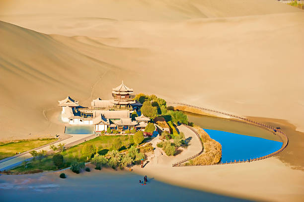 Crescent Spring and Mingyue Pavilion in the morning, Dunhuang stock photo