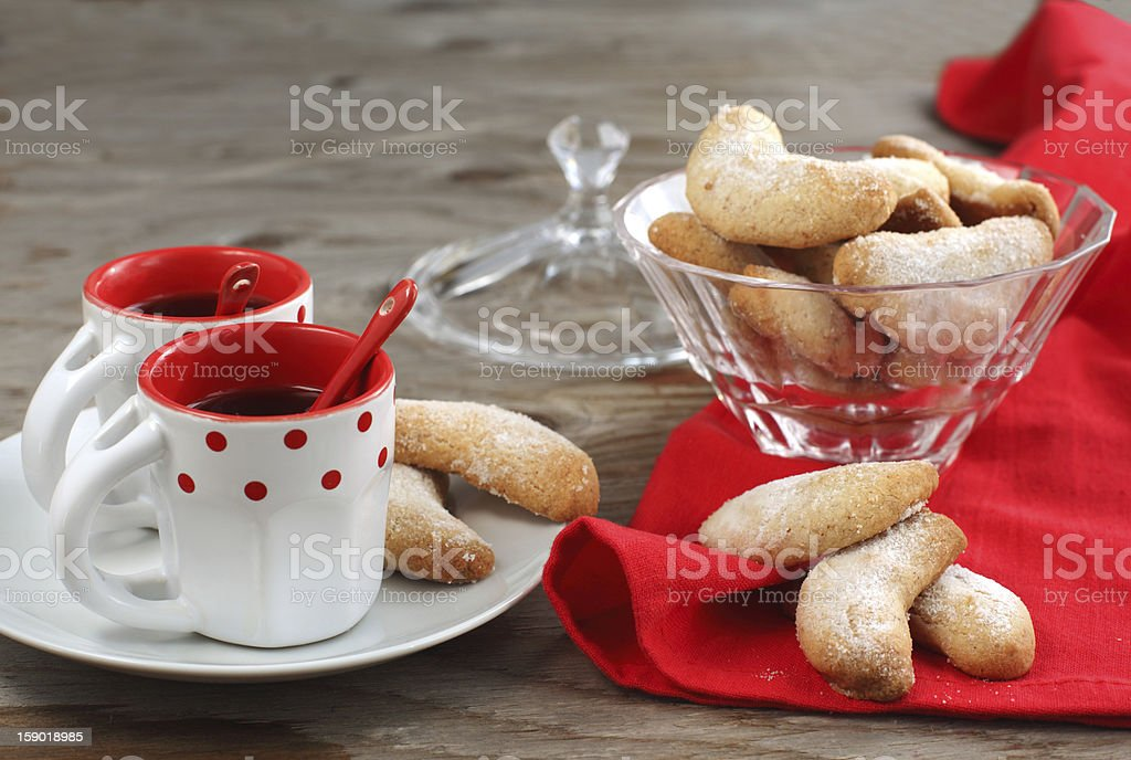 Crescents vanilla and almond cookies royalty-free stock photo