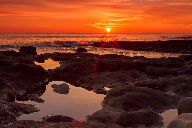 Cresent Bay Beach Sunset stock photo