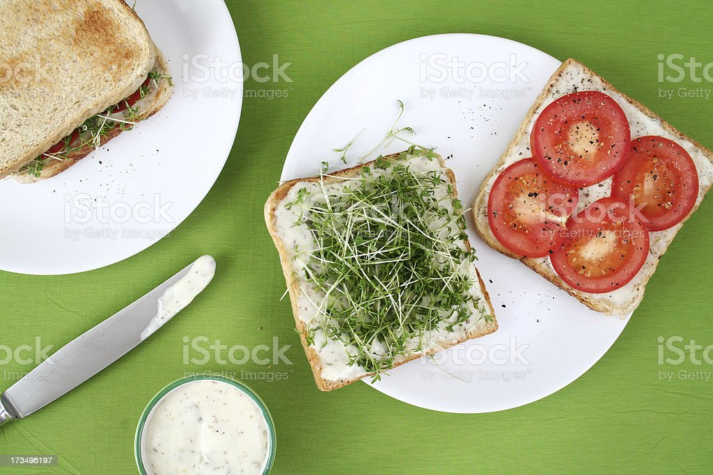 Kresse-Tomaten-Sandwich mit Remoulade – Foto