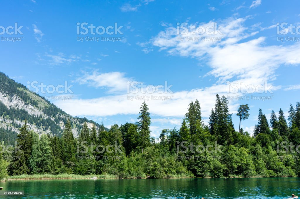 crestasee with mountain and forest view stock photo
