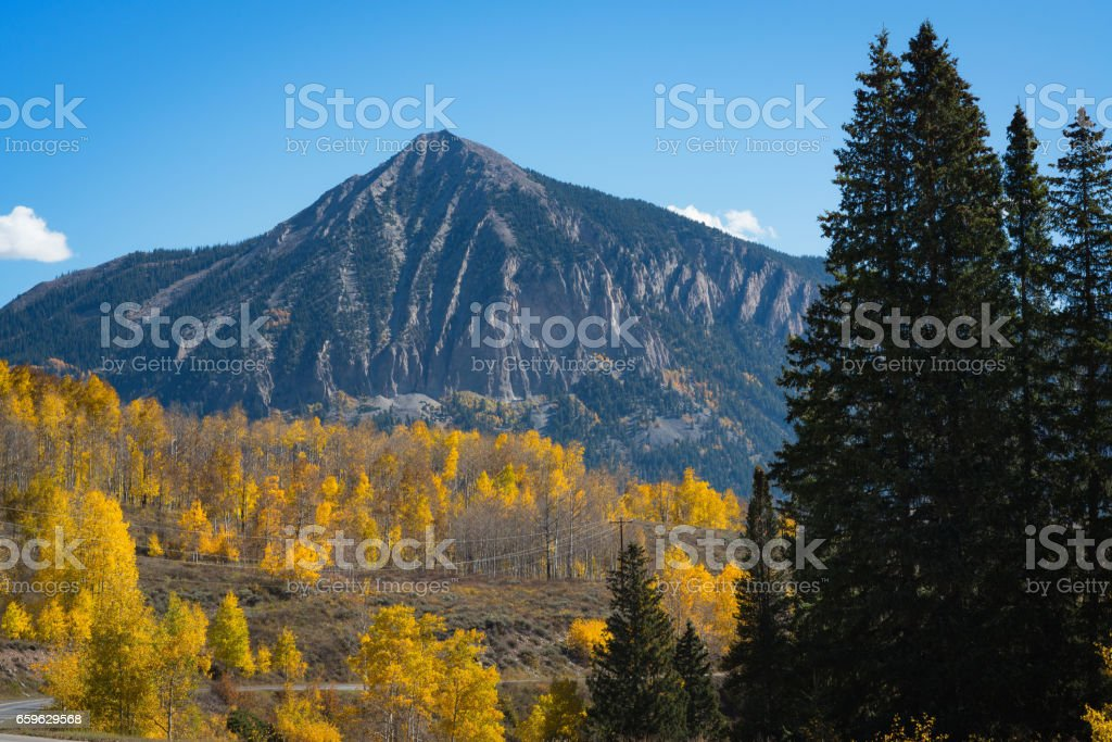 Crested Butte Mountain in autumn stock photo