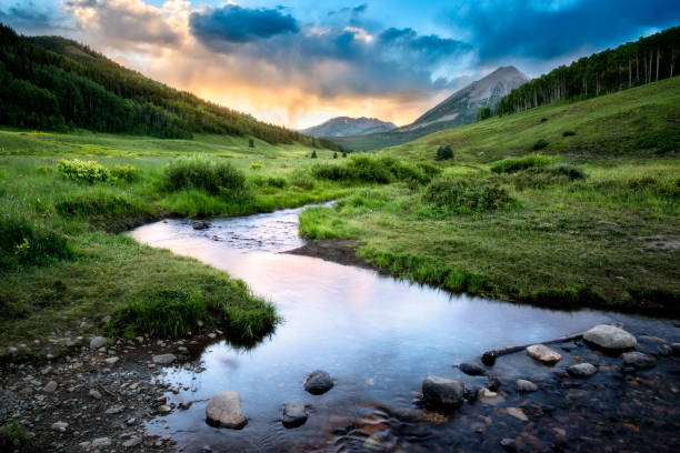 crested butte - river stock photos and pictures