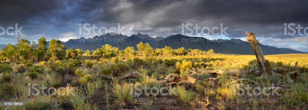 Crestone summer panorama stock photo