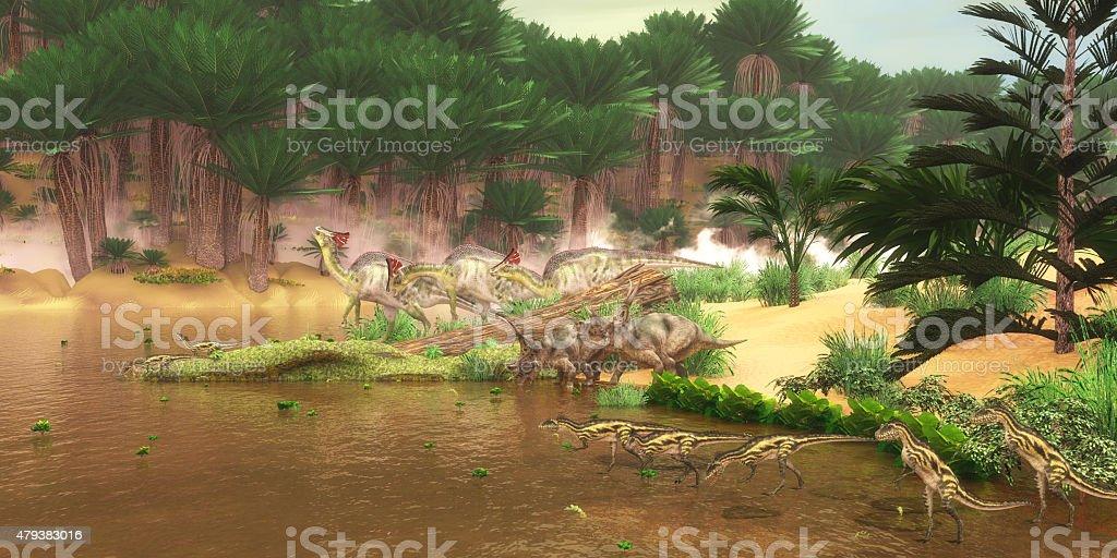Cretaceous Dinosaur River stock photo
