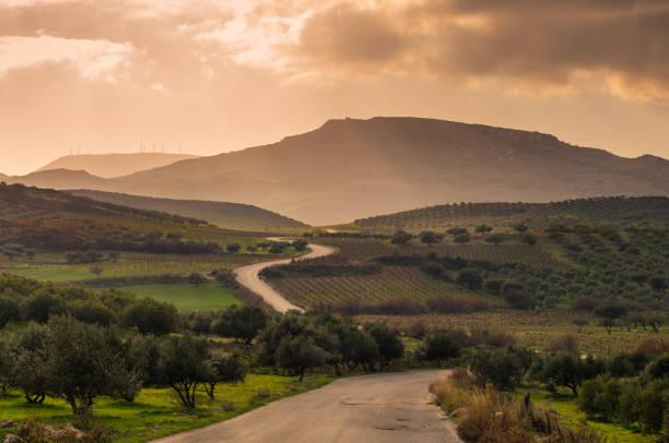 Cretan landscape at sunset stock photo