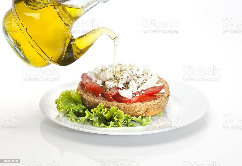 cretan ntakos (bread,tomato and cheese) royalty-free stock photo