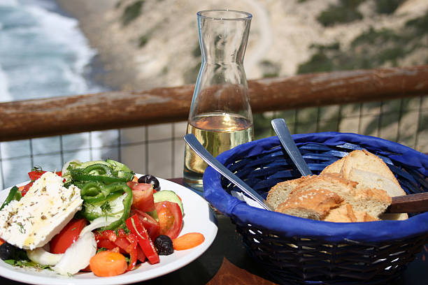 Cretan taverna meal stock photo