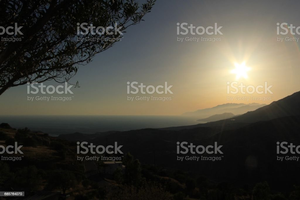 Crete at sunset royalty free stockfoto