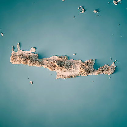 Crete Island Greece 3d Render Topographic Map Neutral Stock Photo Download Image Now