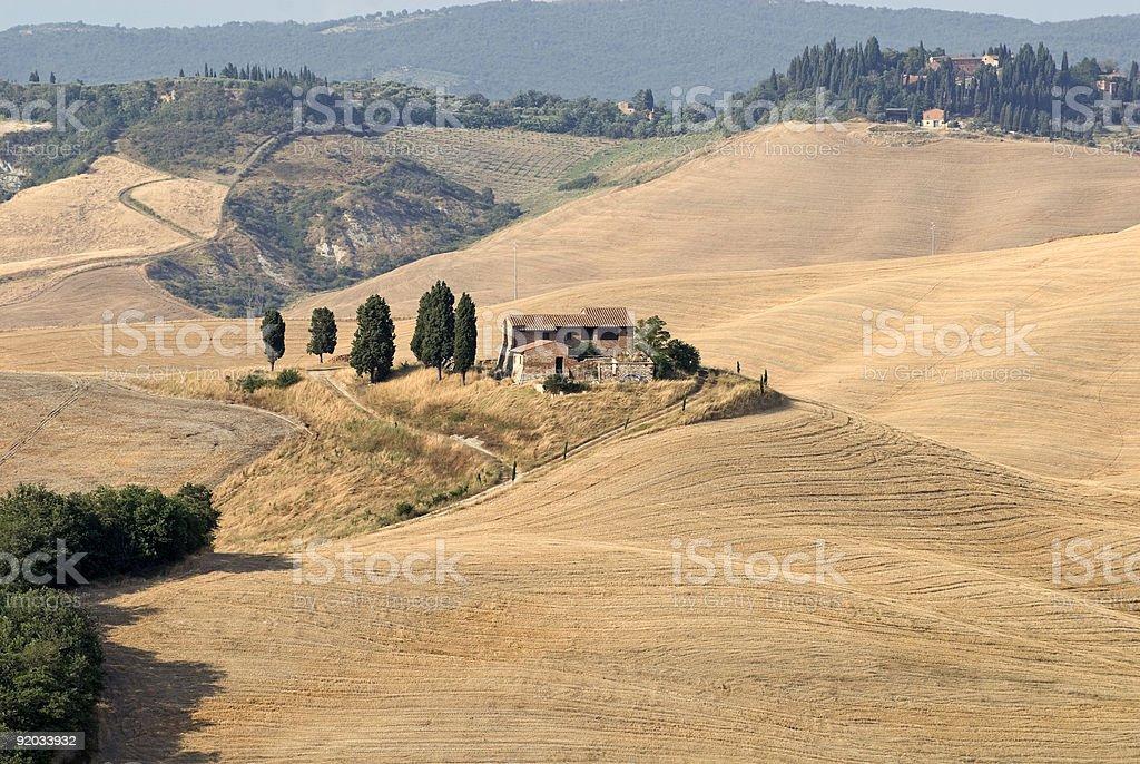 Crete senesi, characteristic landscape in Val d'Orcia (Tuscany, Italy) stock photo