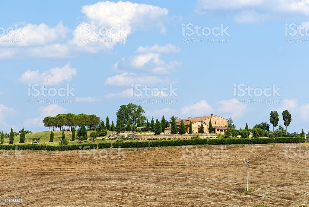 Crete Senesi, farm in Tuscany, near Siena, at summer royalty-free stock photo