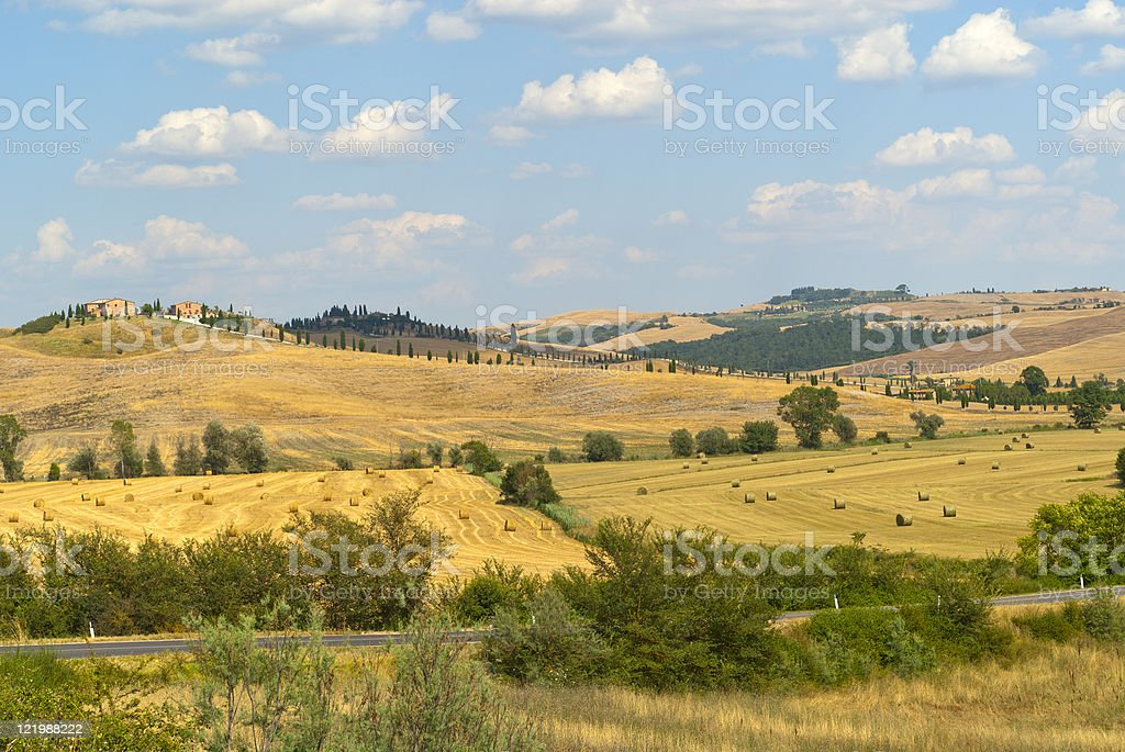 Crete Senesi, landscape in Tuscany, near Siena, at summer royalty-free stock photo