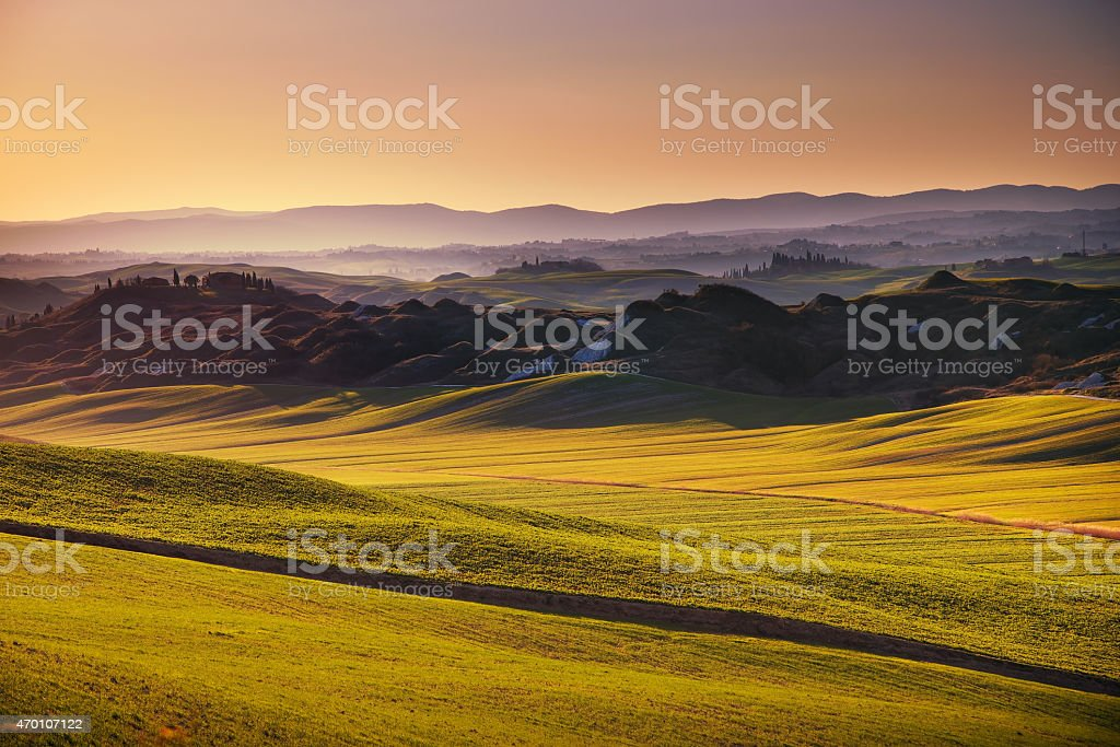 Crete senesi, rolling hills on sunset. Rural landscape near Sien stock photo