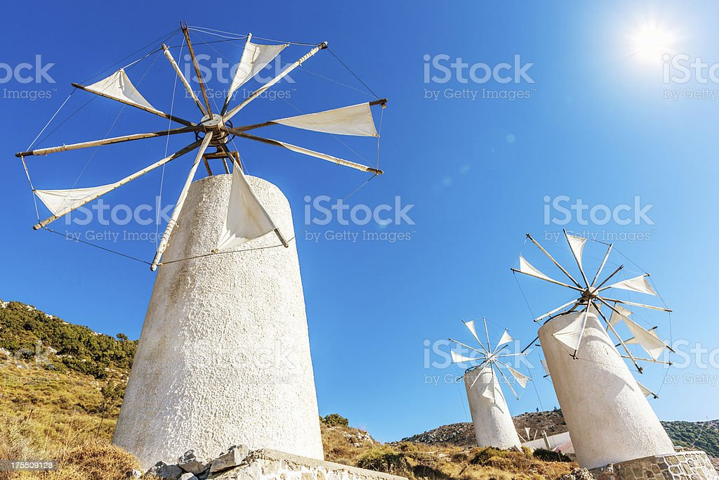 Crete Windmills Greece stock photo