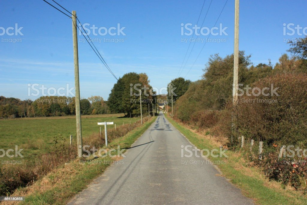 La Creuse France  Countryside road royalty-free stock photo