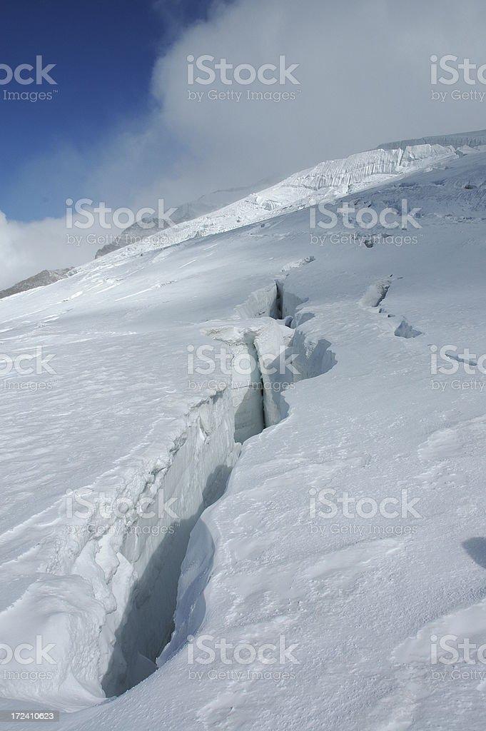 Crevasse in Alps stock photo