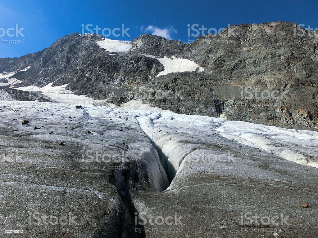 Crevasse in the European Alps stock photo
