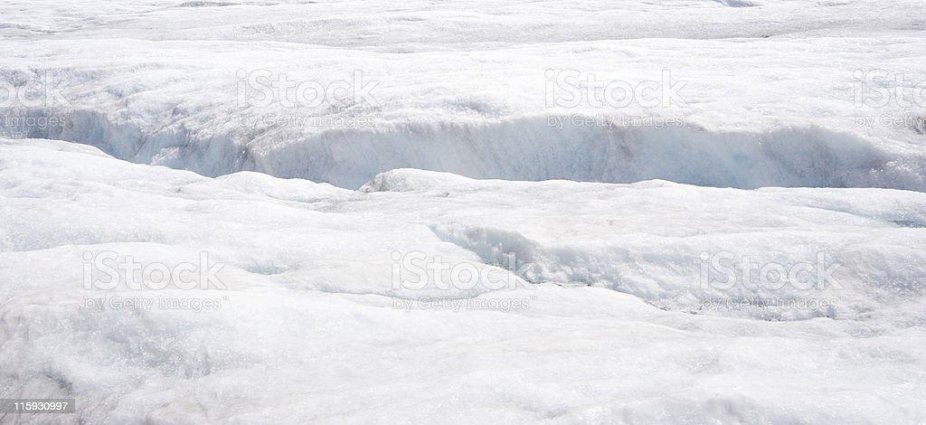 crevasse in the glacier stock photo