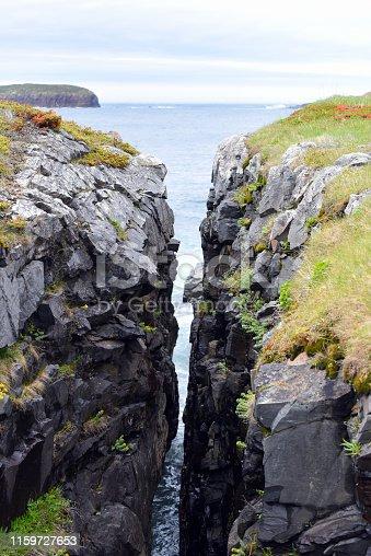 Crevice in rock at Atlantic Ocean