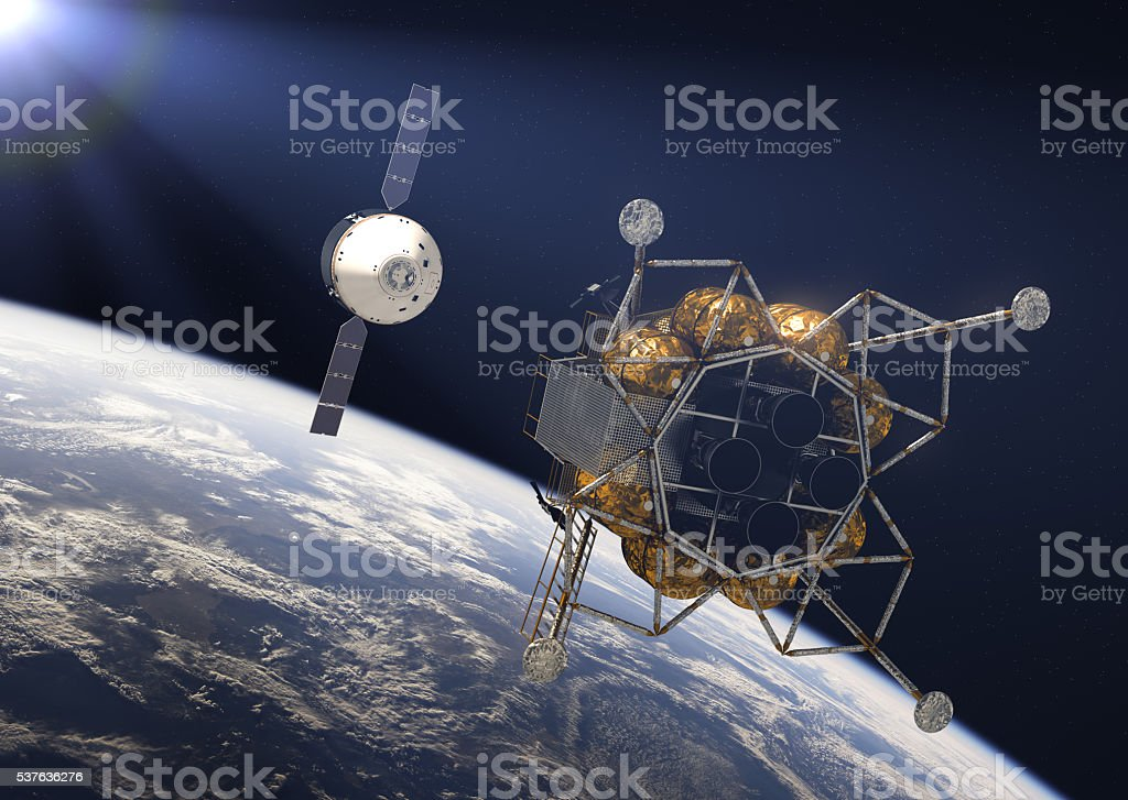 Crew Exploration Vehicle In Rays Of the Sun stock photo